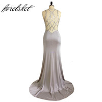 Jersey Fabric Sparkling Beading Handwork Sweetheart Mermaid Prom Dresses With Stones Sexy Sheer Back Party Dresses