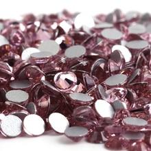Light Rose/Light Rose Glass 3D Nail Art ss3 ss4 ss5 ss6 ss8 ss10 ss12 ss16 ss20 ss30 ss34 Crystal Nails Non HotFix Rhinestones