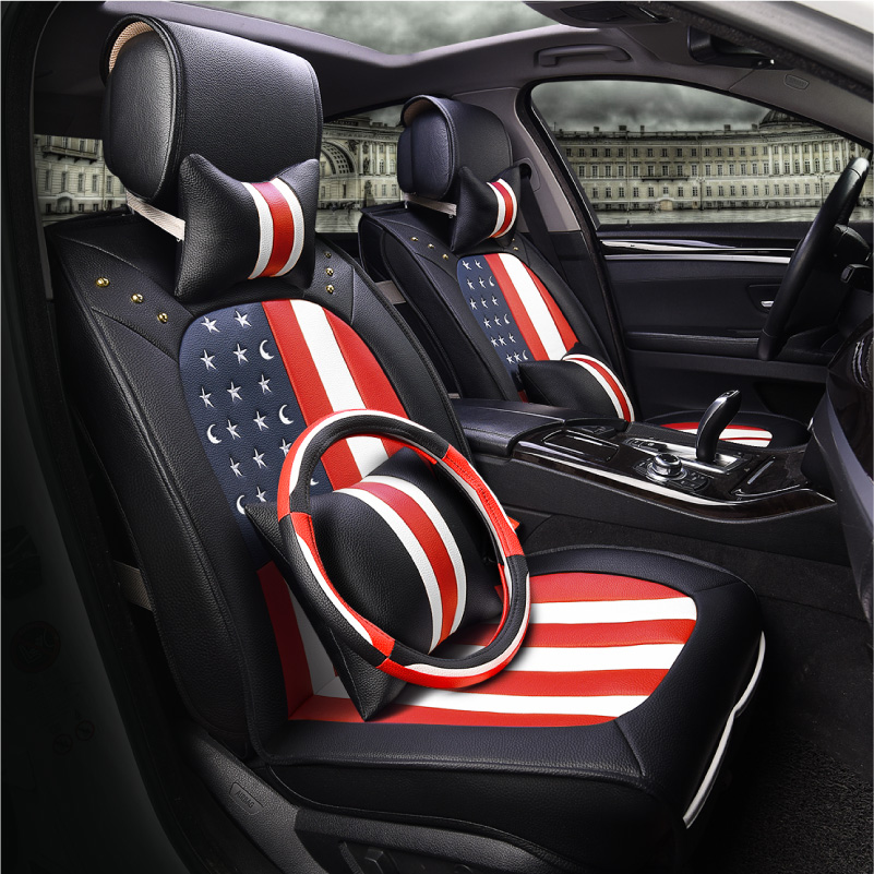 Prabangi odinė automobilio sėdynės danga apima universalų smėlio - Automobilių interjero aksesuarai