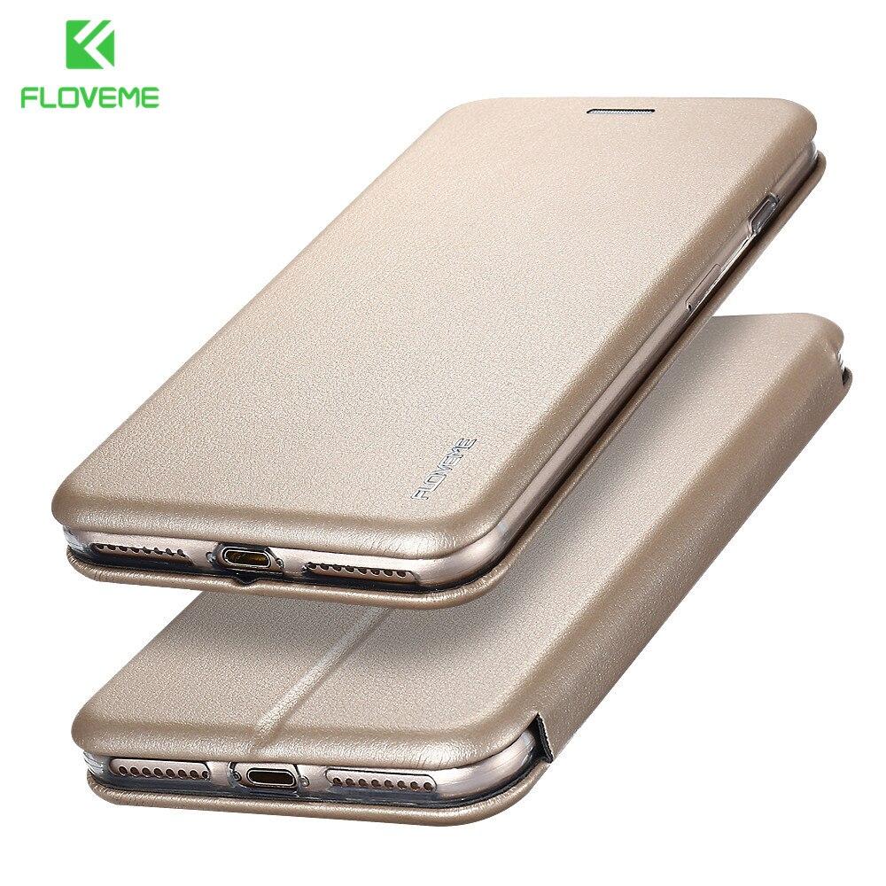 FLOVEME Elegant Arc Edge Leather Case For iPhone 7 6 6s Plus Full Body Wallet Cases For iPhone 6 6s 7 Plus Card Holder Case