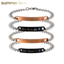 Romantic Her King&His Queen Beast&Beauty Lettering Couple Bracelets Stainless Steel Bracelets for Women Men Jewelry Lover Gift