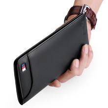 Williampolo carteira masculina de couro legítimo, carteira masculina longa compacta feita em couro legítimo, com compartimento para homens