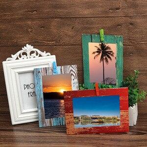 Image 3 - Фоторамка настенная креативная деревянная зернистая бумага подвесной альбом сочетание DIY художественное украшение для гостиной украшение Porta Retrato