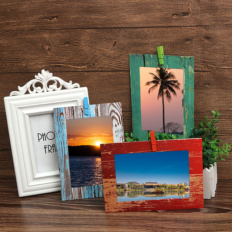 Image 3 - Photo Frame Wall Creative Wood Grain Paper Hanging Album Combination DIY Art Ornament Living Room Decoration Porta Retrato-in Frame from Home & Garden