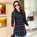 Combed cotton flannel plaid shirt long section of female models long-sleeved shirt