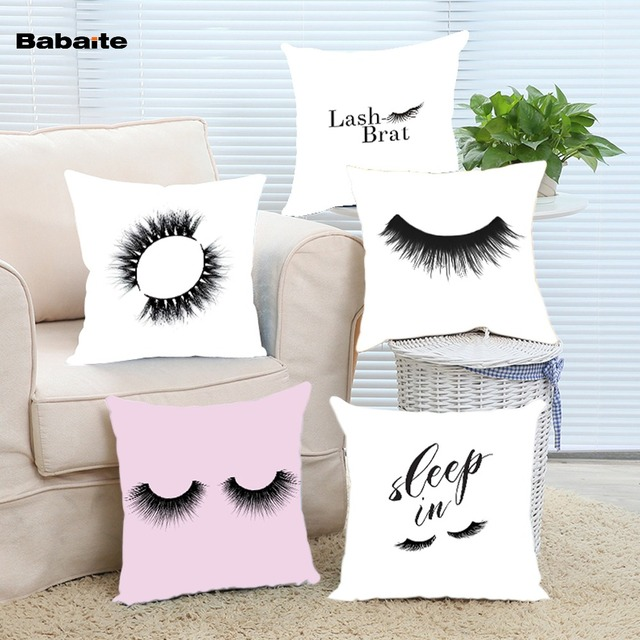 Babaite Modern False Eyelash Girly Classic Chair Art Invisible Zippered Twin Side Luxury Printing Throw Pillow Cover