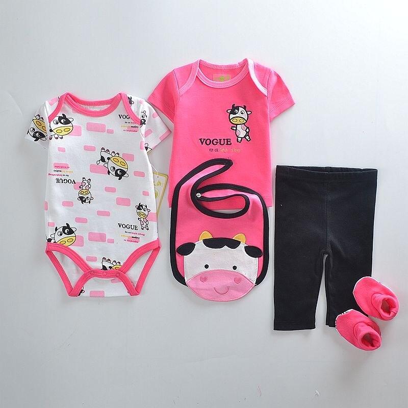 Baba lányok ruházati szettek Rózsaszín tehén aranyos divat Bebe - Bébi ruházat