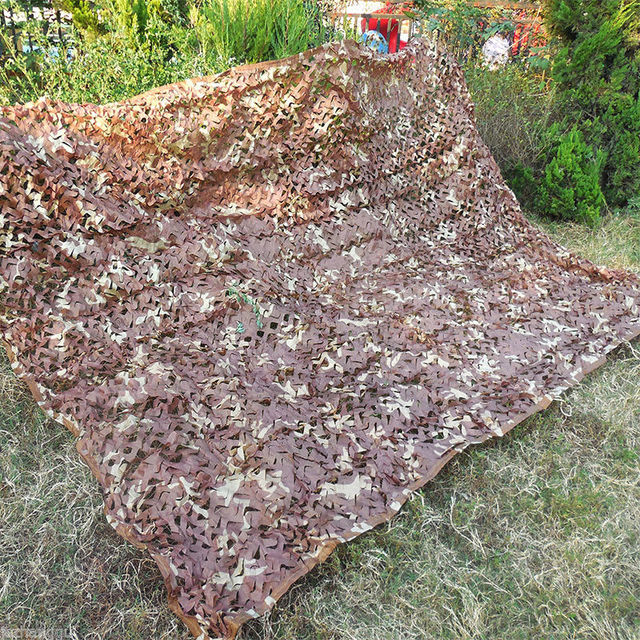 13X13ft Desert Sun Shelter Camouflage Net Outdoor Travel CS Desert Military Camo Netting Cloth Garden Hide Cover Net for Hunting