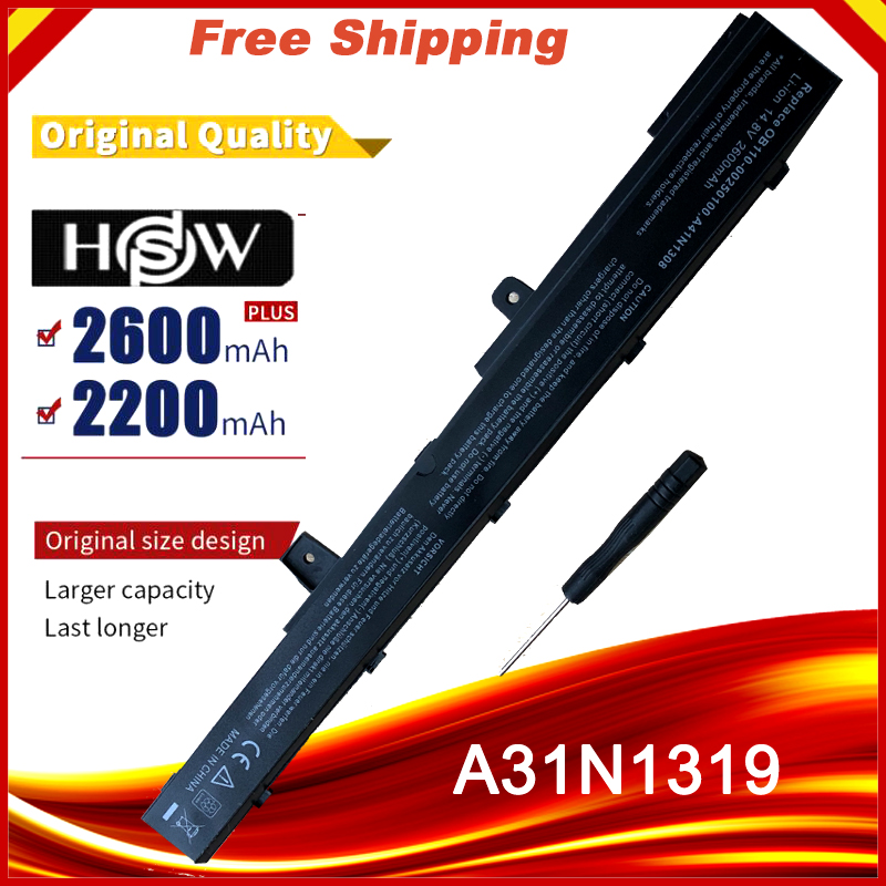 HSW laptop Battery For Asus X451 X451C X451CA X551 X551C X551CA D550M D550MA F551M X551MA-in Laptop Batteries from Computer & Office