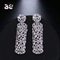 Be 8 New Fashion AAA Cubic Zirconia Baguette Shape Dangle Earrings Bridal Wedding Jewelry for Women Gifts E504