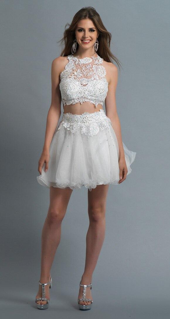 3981a9a6e07 Scoop Top Lace Formal White Short Two Piece Homecoming Dresses Vestido De  15 Anos Curto Festa8th Grade Formal Dresses