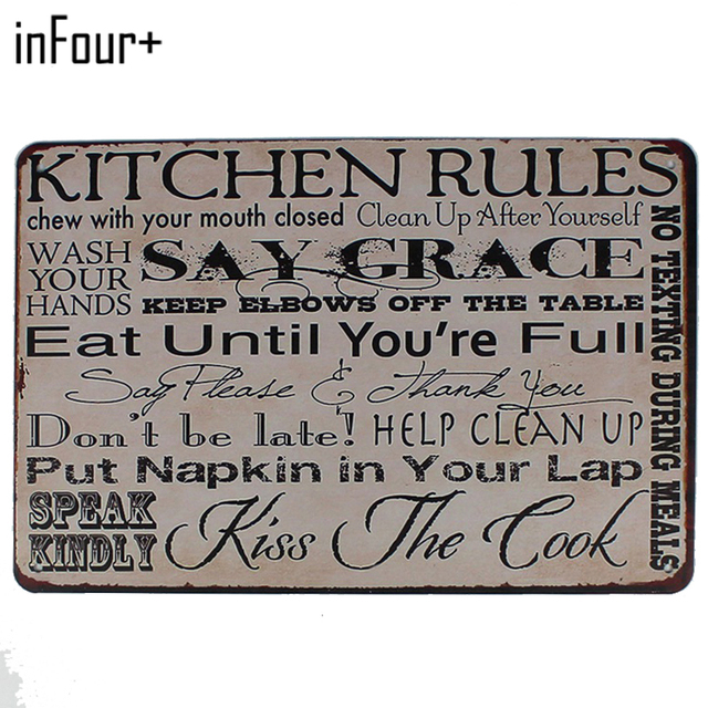[inFour+] Kitchen Rules Say Grace Metal Signs Home Decor Vintage Tin Signs  Pub Vintage Decorative Plates Metal Wall Art Plaques