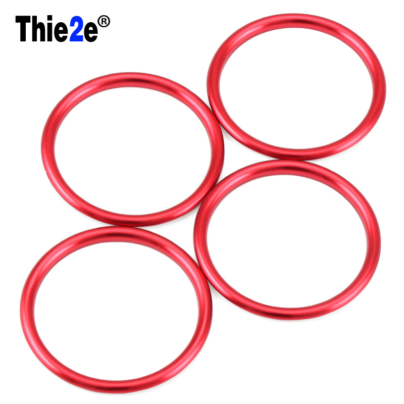 4pcs Red Car Interior Air Condition Air Vent Outlet Ring Round Circle Cover Trim Decoration Sticker For Audi A1 2014-2017 circle