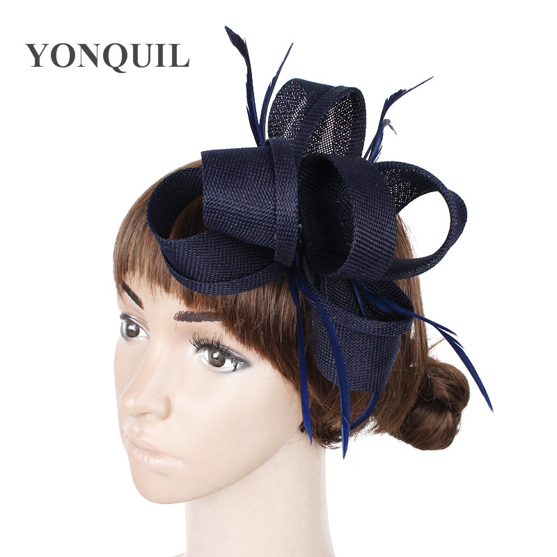 Navy Blue Imitation Sinamay Fascinators Hats Women Wedding With Feather Hair Accessories Ladies Party Headbands 2018 New Arrival