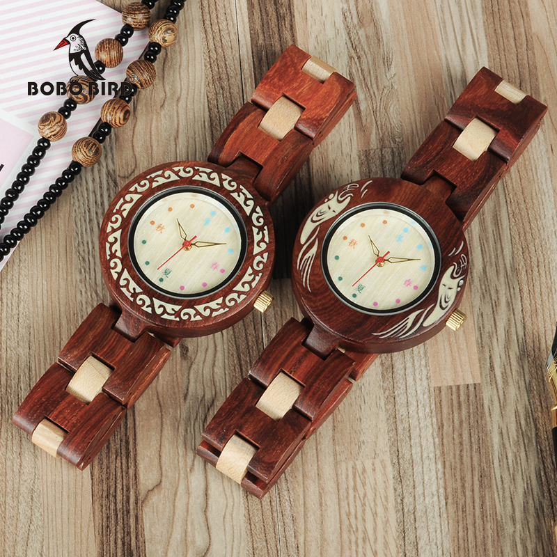 BOBO BIRD WP15 New Brand Design Seasons Colors Wooden Watches For Women Natural Element Wood Ladies Watch As Gift DropShipping