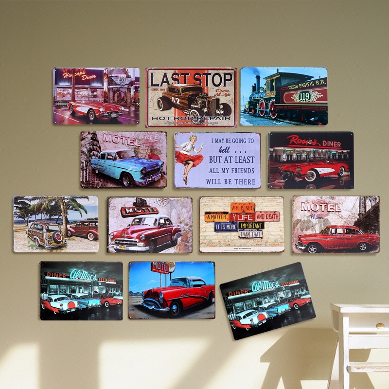 Diner Red Car Vintage Tin Sign Bar Pub Home Wall Decor Retro Metal Art Poster