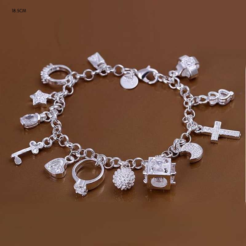 Christmal Gift Wholesale Women Charm Bracelet Silver