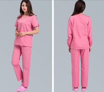 Hot New Summer style V-neck 100% cotton doctor scrub sets hospital nurse medical uniform clinic work clothes short/long sleeve