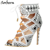 Sorbern Women Pumps Lace Up High Heels Shoes Women Plus Size Ladies Party Shoes Peep Toe Hollow Side New Arrive 2017 S