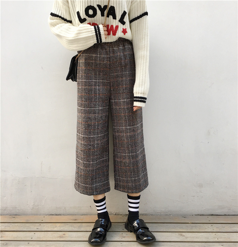 Fashion 2018 Winter   Pants   Women Vintage Plaid Casual Loose High Waist   Wide     Leg     Pants   Wool Blends Trousers pantalon femme B224