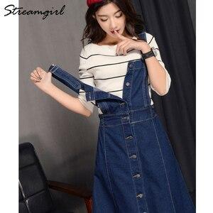 Image 5 - Falda larga de 2019 mujeres atado faldas para mujeres Plus tamaño de verano de las mujeres faldas falda de Jeans con correas mujer