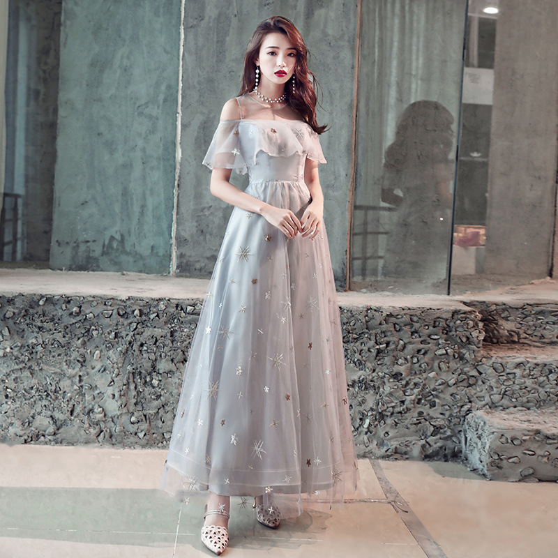 Grey Elegant A Line Evening Dress Vestidos De Festa Longo Short Sleeve Slim Prom Gown Formal Party Dresses Robe De Soiree