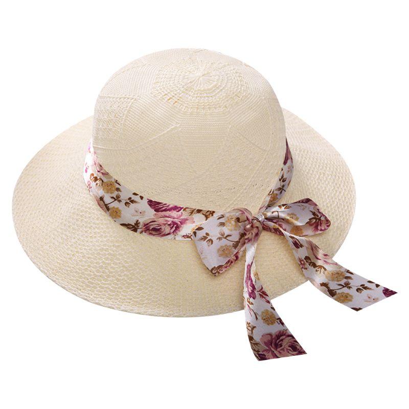 Women Summer Wide Brim Flower Décor Protection Sun Straw Hat Outdoor Beach