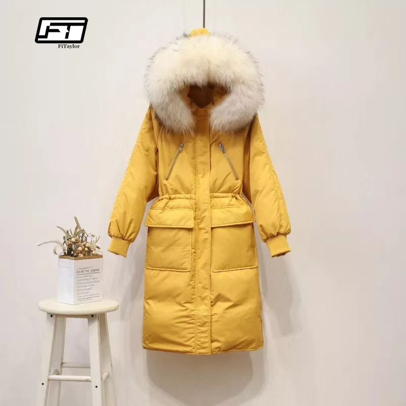 Fitaylor Women Winter Long   Down   Jacket   Coats   Large Raccoon Fur Collar 90% White Duck   Down   Parka Female Slim Pockets Snow Outwear