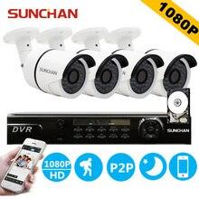 SUNCHAN HD AHD 4CH 1080 P 2.0MP SONY Überwachungskameras System 4*1080 P Outdoor Nachtsicht CCTV Home Sicherheitssystem mit HDD