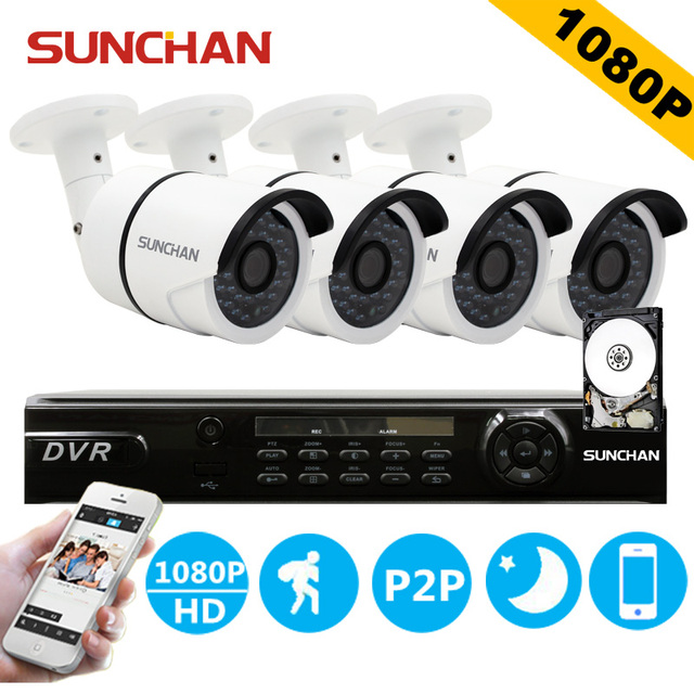 SUNCHAN HD AHD 4CH 1080P 2.0MP Security Cameras System 4*1080P Outdoor Night Vision CCTV Home Security System with HDD