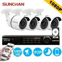 Sunchan HD AHD-H 4CH 1080 P 2.0MP SONY CCD cámaras de seguridad del sistema 4 * 1080 P visión nocturna exterior sistema de seguridad CCTV 1 TB HDD sistema de camaras de seguridad