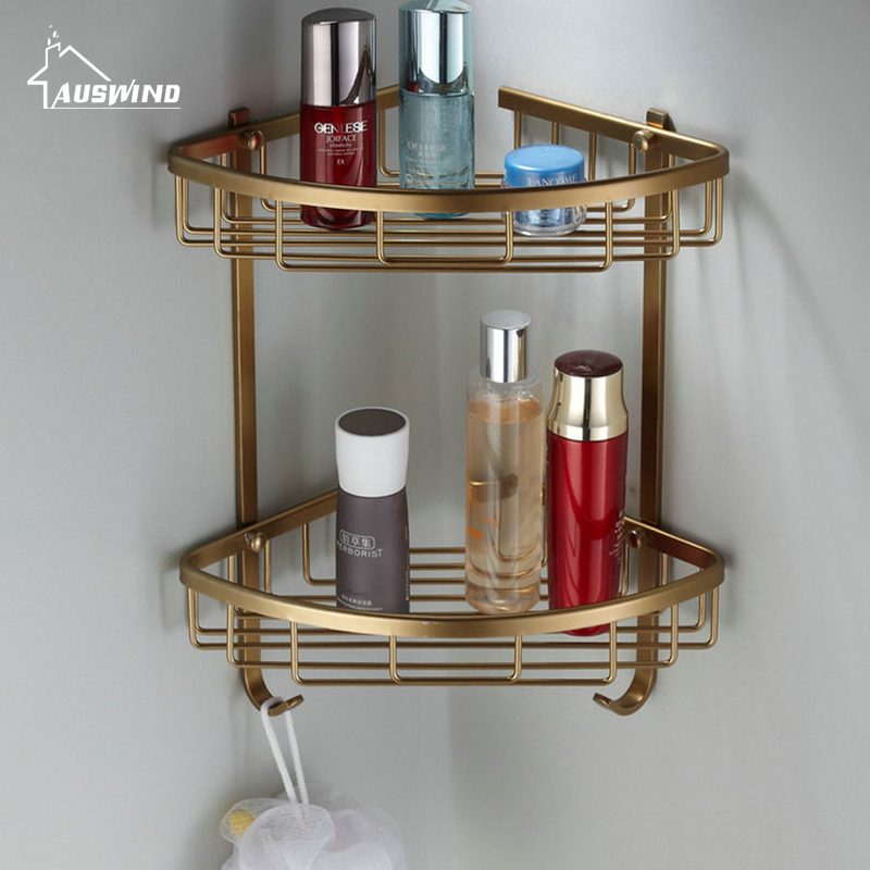 Antique Bathroom Shelves Space Aluminum Alloy Cosmetic Storage Box Brass Bathroom Shelves Double Layer Bathroom Products