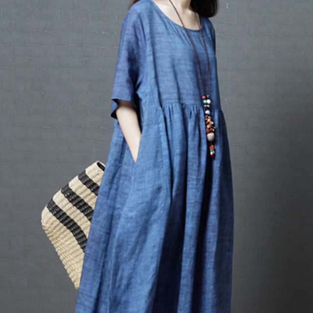 7dd0c516b1 Women Vintage Linen Dress Plus Size 2018 Summer Vestido Casual O Neck Loose Female  Clothes With Pockets Casual Loose Maxi Dress