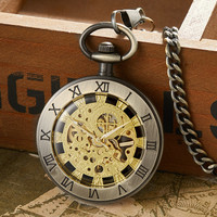 Retro Bronze Hollow Mechanical Pocket Watch Men Roman Number Dial Steampunk Unique Hand Winding Pocket Watches Male Clock Gifts