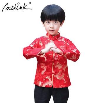 ccccc06853174 ActhInK New Boys Dragon Print Hanfu Coat chino tradicional Style Boys Hanfu  Shirt niños China New Year Coat niños Tang Suit