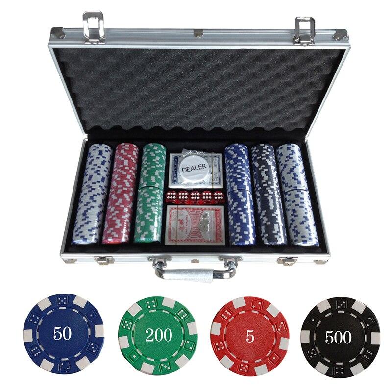 Hot sale 300PCS/SET Poker Chips Plastic Casino Chips Texas Holdem Poker Wholesale Sets With Metal Box Free ship!