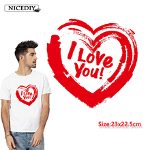 Nicediy Fashion Red Heart PVC Patch Deal With It Clothes Heat Transfer Printing T-shirt Women Iron On Patches For Clothing Badge