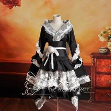 New Japanese Kimono Dress Cosplay Costume Black Maid w/Lace Lolita Dresses Carnaval/Halloween Costumes for Women S-XL