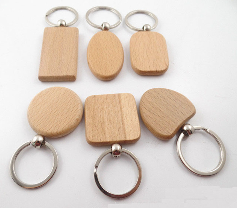 EUBfree 50pcs customize DIY Blank Wooden Key Chain Rectangle Heart Round Ellipse Carving Key ring Wood Key Chain Ring image