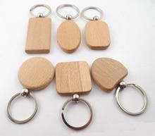 EUBfree 50pcs personnaliser bricolage blanc porte clés en bois Rectangle coeur rond Ellipse sculpture porte clés bois