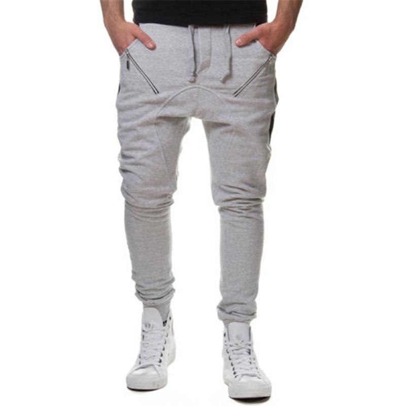 Men zipper joint Jogger Sportwear Baggy Casual Harem Pants Slacks Dance Trousers Sweatpants