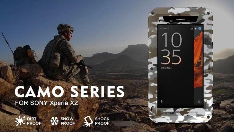 Coque en métal Camouflage LOVE MEI pour Sony Xperia XZ Life coque en aluminium antichoc étanche pour Sony Xperia XZ coque de protection