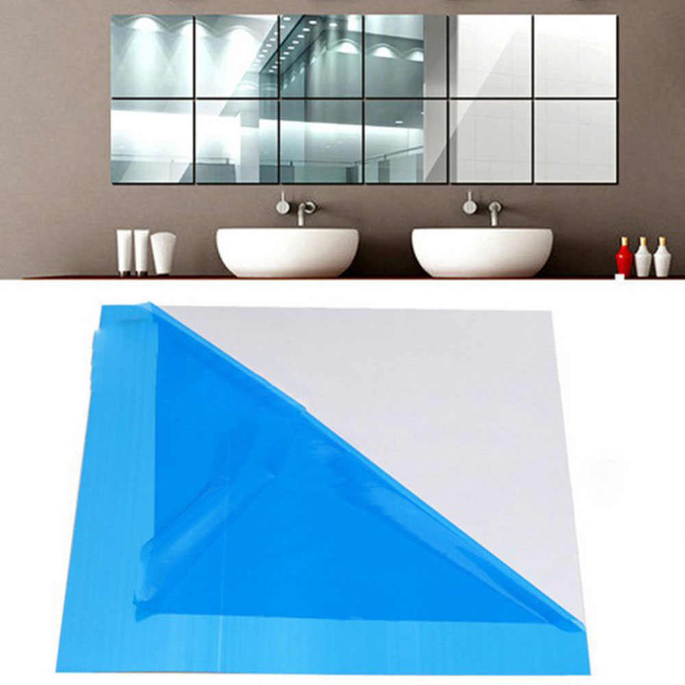 Us 1 33 11 Off 9pcs Protective Film Stickers Square Mirror Paster Wall Stickers Self Adhesive Film Mirrors Sticker Glass Decorative In Decorative