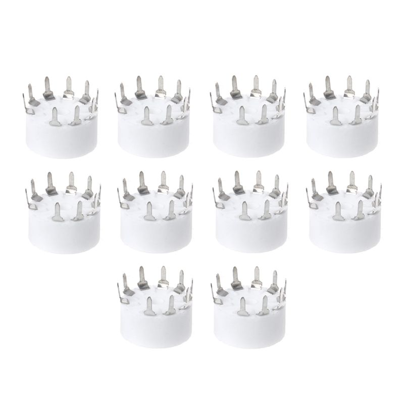10Pcs 9-pin Outlet Electronic Tube Ceramic Sockets Gold Plated Tube Holder Audio Accessories