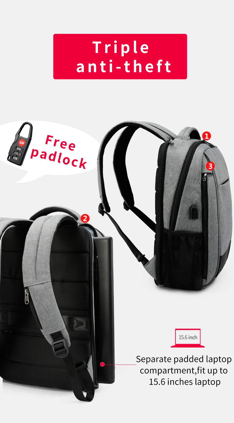 4.anti theft travel backpack