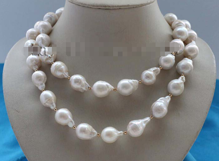 Free Shipping Genuine Natural 20mm White Baroque Reborn Keshi Pearl Necklace #f2133! () цена и фото