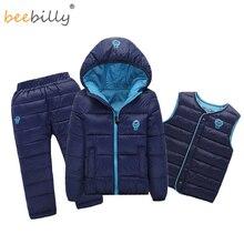 Çocuk seti erkek kız giyim setleri kış 1 7T aşağı pamuklu ceket + pantolon su geçirmez kar sıcak çocuk giysileri takım elbise 2/3 adet