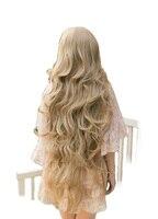 QQXCAIW נשים בנות ארוכות גלי קוספליי בלונד פאות שיער סינטטי עמיד בחום סופר ארוך 100 ס