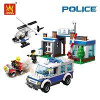 WANGE игрушки строительные блоки Совместимые Кирпичи пластиковые сборные игрушки полицейский супер полицейский автомобиль-вертолет модель ...