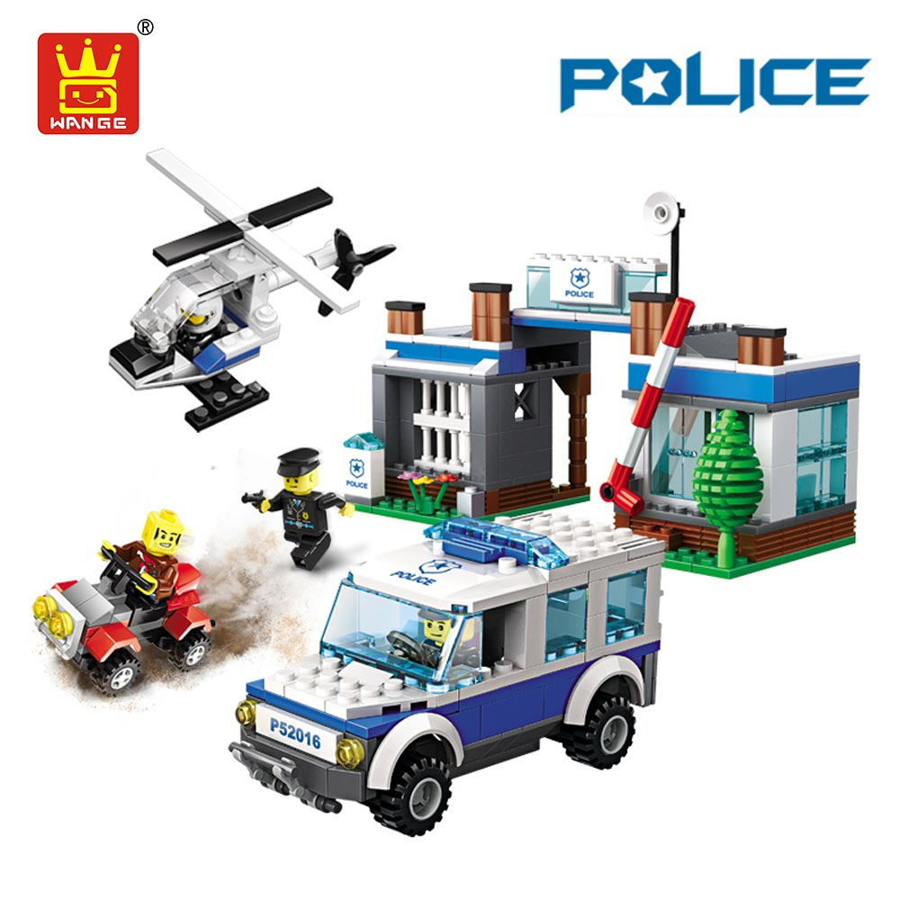 WANGE Toys Building Blocks Compatible Bricks Plastic Assembly Toys Policemen Super Police Car Helicopter Model Motorcycle DIY 32 32 dots plastic bricks the island straight crossroad curve green meadow road plate building blocks parts bricks toys diy